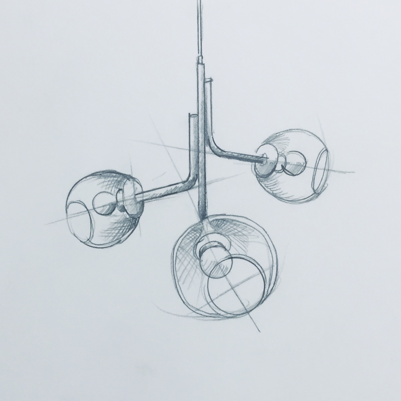 Rendering of the 3 globe Caledonia Chandelier